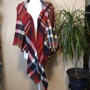 🔥 Red Plaid Blanket Ruana Poncho Wrap Shrug 80x80